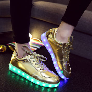 Silver Shoes Round-toe Low-cut Flat Lightning Casual LED Lights [6734563527]