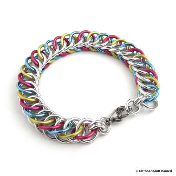 Pansexual pride bracelet, chainmaille half Persian 4 in 1 weave