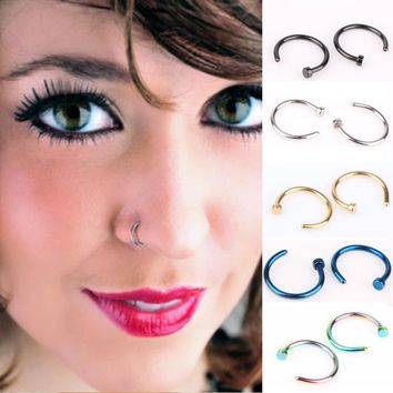 1 Piece Free shipping Medical Titanium Nose Hoop Nose Rings Fake Body Piercing Jewelry Steel Black Gold Rainbow 18G Body Jewelry