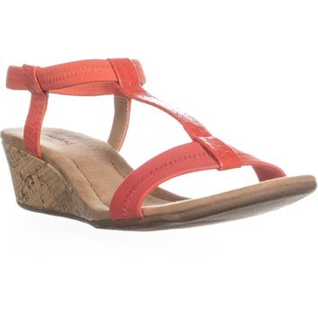 A35 Voyage T Strap Wedge Sandals, Coral, 7 US