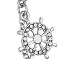 14g Surgical Steel Jeweled Anchor & Ship Wheel Nautical Dangle Belly Button Ring