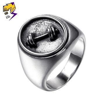 Antique Silver Stainless Steel Ring for Men Engraving Dumbbell Biker Ring Wedding Band Vintage Steampunk Jewelry Dropshipping