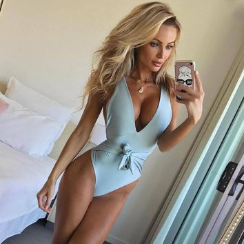 Deep V-Neck Backless Fashion One Piece Swimwear Bikini Swimsuit