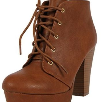 Soda Agenda-5 Womens Chunky Heel Lace Up Booties