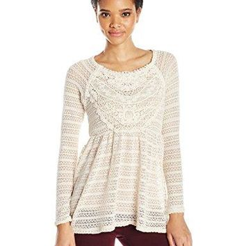 Taylor and Sage Womens Stripe Hacci Top with Lace Applique
