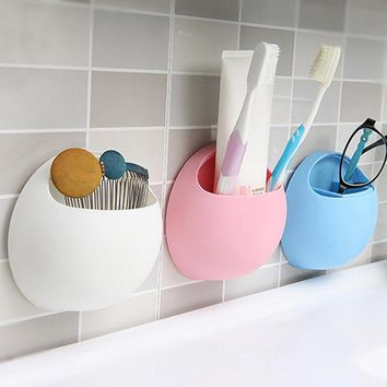 New Toothbrush Holder Bathroom Kitchen Family Toothbrush Suction Cups Holder Wall Stand Hook Cups Organizer Hot