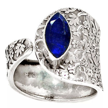 Sapphire Sterling Silver Adjustable Floral Pattern Ring