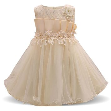 Baby Kids Tutu Dresses Girl Flower Wedding Dress First Birthday Girl Party Wear Infant Toddler Christening Gown Vestido Infantil