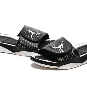 PEAPGE2 Beauty Ticks Nike Jordan Hydro V Retro Black/white Sandal Sandals Slipper Shoes Size Us 7-11