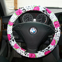 Leopard Print with Roses Steering Wheel Cover