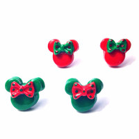 Handmade Christmas Red and Green Minnie Mouse Inspired Polymer Clay Earrings - Two Color Choices - Holiday Disney inspired
