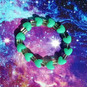 Green Hearts and Glass Cubes Stretch Kandy Bracelet Japanese Street Fashion Sweet Lolita Decora Fun