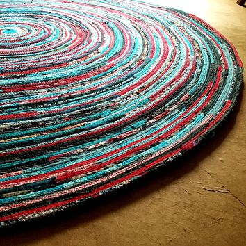 Round Rug, Handmade, 5 foot, Ready to Ship! Turquoise & Red Colors