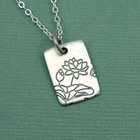 Etched Lotus Necklace - sterling silver jewelry - yoga pendant charm - zen gift