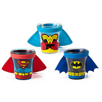Batman, Superman, Wonder Woman Caped Shot Glasses Set Of 3
