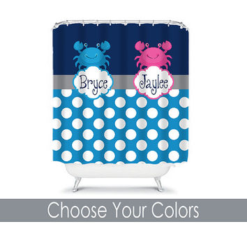 Nautical Shower Curtain Boy Girl Sister Brother Navy Blue Hot Pink Crab Polka Dot CUSTOM You Choose Colors Navy Hot Pink Bathroom Bath USA