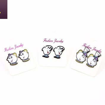 2017 New Style 3 Pair/Lot Anime Beauty and Beast Earrings Mrs Potts And Chip Cup Earrings Cosplay Decoration Women Earrings Gift