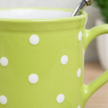 Stoneware Coffee Mug | Large Coffee Mug | Cute Mug | Lime Green Polka Dot EXTRA LARGE Mug, Handmade Pottery Unique Coffee Mug Tea Lover Gift