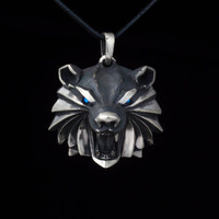 Bear School Medallion Pendant, Witcher Necklace, white bronze, handmade
