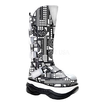 Neptune 309 UV Black White UV Techno Cyber Platform Knee Boot