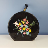 Vintage Round Train Case, Travel Case, Hat Box, Overnight Case Bag, Shiny Black Hand Painted Flowers,  Retro Luggage, Vintage Carry On Bag