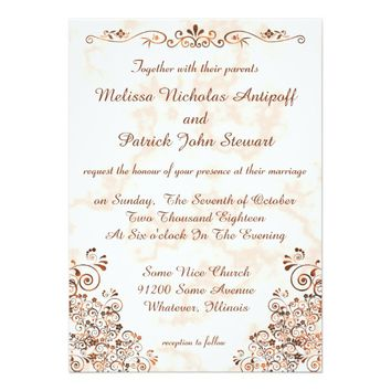Marble Rose Gold Bronze Elegant Stylish Wedding Card
