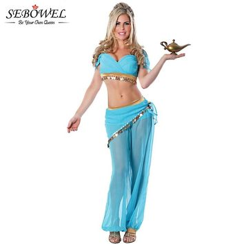 SEBOWEL 2018 Two Piece Aladdin lamp Transparent Mesh Sexy Cosplay Genie Costume Women Adult Halloween Fantasia Infant