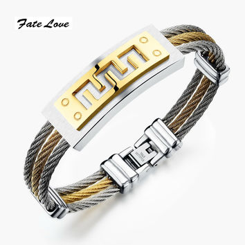 New Fashion Jewelry Originality Stainless Steel Multi Layers Bangles For Men/Women Silver or Gold Plated Bracelet  FL784 Gold
