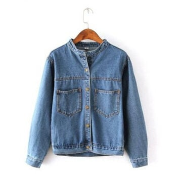 Fashion 2016 Autumn Vintage Women's Jeans Loose Denim Jacket Women Short Jean Jacket jackets for women Outwear