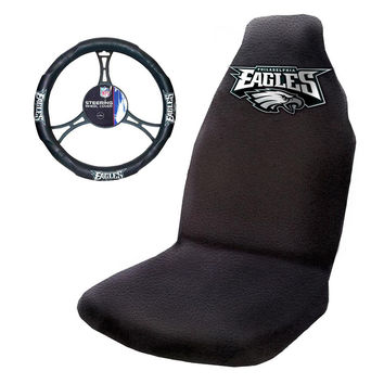 Philadelphia Eagles NFL Car Seat Cover and Steering Wheel Cover Set