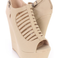 Taupe Strappy Cut Out Peep Toe Wedges Nubuck