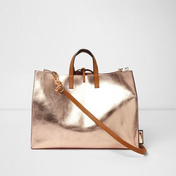 Rose gold metallic tie top bag - Shopper & Tote Bags - Bags & Purses - women
