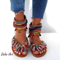 "Leather Sandals, ""Appaloosa"",  colorful  summer sandals, boho shoes ,Greek Sandals, Handmade Sandals,  hippie sandals, Delos Art"