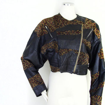80s Black and Leopard Print Batwing Faux Leather Jacket - Vintage Women's Cropped Patchwork Asymmetrical Zipper Animal Print Rocker Jacket