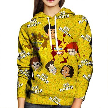 Big Mouth Collage Womens Hoodie