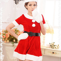 Red and White Short Sleeve with Belt Santa Costume