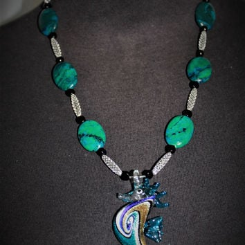Turquoise-Black Onyx Hand-blown Glass Sea-Horse Necklace Handcrafted in USA