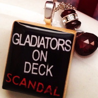 "SCANDAL ""Gladiators On Deck"" Scrabble Tile Sterling Silver Necklace"