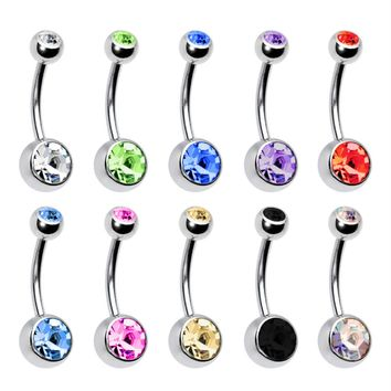 BodyJ4You Belly Button Navel Ring Lot of 10pcs Double Gem Body Jewelry Piercing 14G