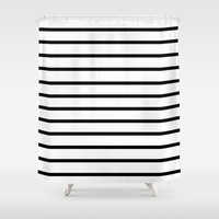 Shower Curtain - Black and White Stripes - Black and White Shower Curtain - Black - White - Modern Shower Curtain - Black - White - Stripes