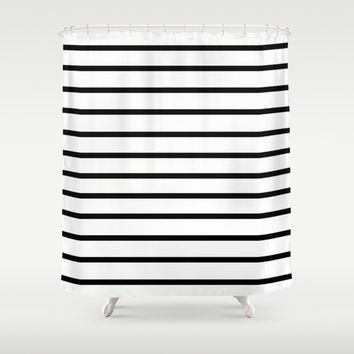 black and white striped shower curtain. Shower Curtain  Black and White Stripes Shop And Striped on Wanelo