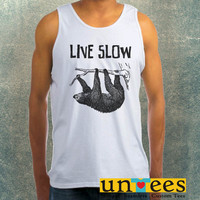 Sloth Hanging Live Slow Die Whenever Clothing Tank Top For Mens