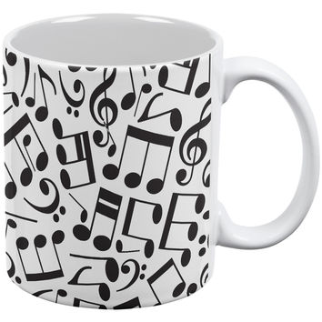 Music Notes White All Over Coffee Mug