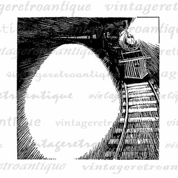 Digital Locomotive Train with Design Space Printable Image Download Graphic Vintage Clip Art Jpg Png Eps  HQ 300dpi No.3037