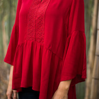 Lace Flare Blouse, Red