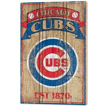"""CHICAGO CUBS EST 1876 VINTAGE WOOD SIGN 15""""X24'' BRAND NEW WINCRAFT"""