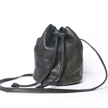 Black Leather Pouch Purse Drawstring Bag Small Lea