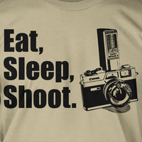 Eat Sleep Shoot Screen Printed T-Shirt Tee Shirt TShirt Mens Ladies Womens Youth Kids Funny Photography Vintage Camera