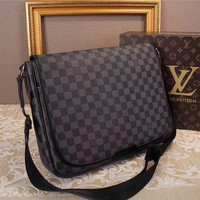 Lv Louis Vuitton Men Leather Shoulder Bag