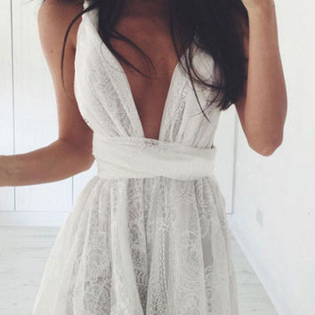 White Straps V-neck Lace Open Back Cross Bandage Mini Swing Dress